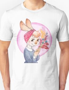 Bunny girl with flowers Unisex T-Shirt