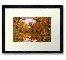 Fall at Upper Falls, Massachusetts. Echo Bridge Framed Print