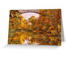 Fall at Upper Falls, Massachusetts. Echo Bridge Greeting Card
