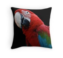 Close-Up Of A Green-Winged Macaw Background Removed Throw Pillow