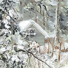 Workshed past the garden in Snow by F.A. Moore