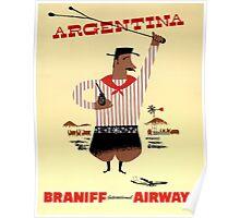 Argentina Vintage Travel Poster Restored Poster