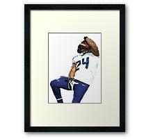 Seahawks Marshawn Lynch Nut Grab Framed Print