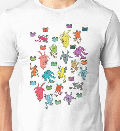 pattern with goats and frogs Unisex T-Shirt