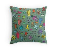pattern with goats and frogs Throw Pillow