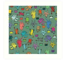 pattern with goats and frogs Art Print