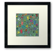 pattern with goats and frogs Framed Print