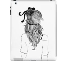 Black and White Girl with Ribbon iPad Case/Skin