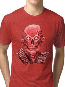Zombie Skull Head Red Tri-blend T-Shirt