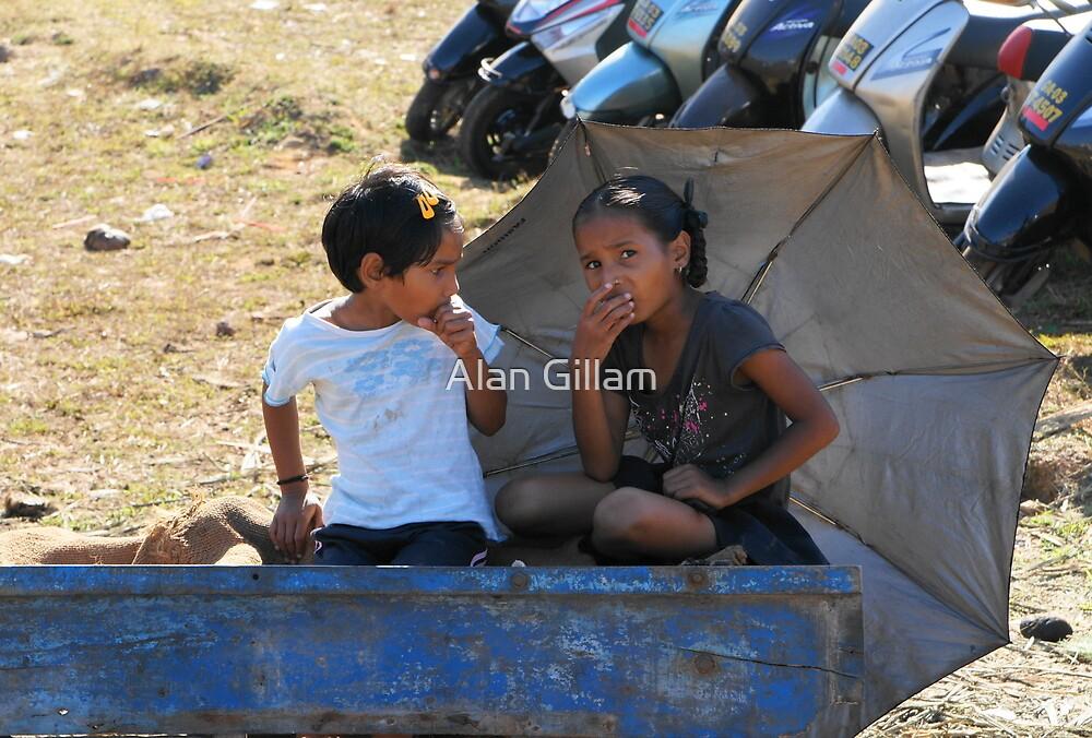 Two children at Anjuna market Goa by Alan Gillam