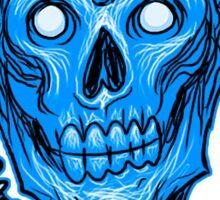 Blue Zombie Skull Head Sticker