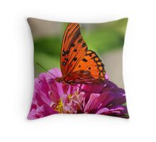 Butterfly at work Throw Pillow