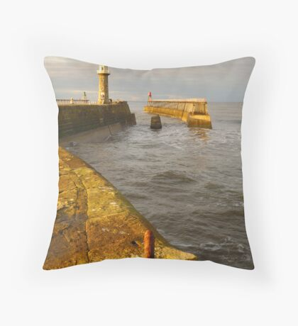 East Pier, Whitby, North Yorkshire Throw Pillow
