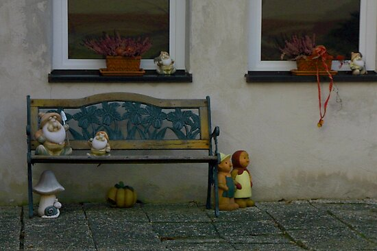 typical Ansbach area porch bench by fototaker