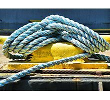 Blue Rope On Cleat Photographic Print