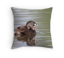 Unhindged/Pied-billed Grebes Throw Pillow