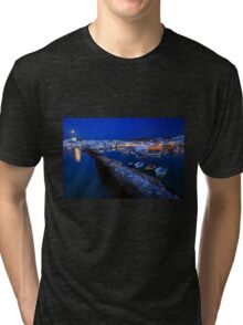 Village of Naousa in Paros island, viewed at a full moon rise Tri-blend T-Shirt