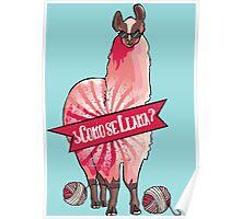 Custom color funny llama yarn knitting crochet Poster