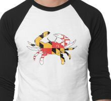 Maryland Flag Crab - Distressed Men's Baseball ¾ T-Shirt