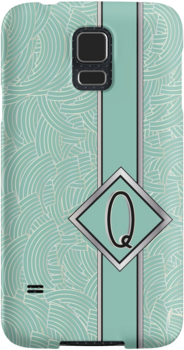 1920s Blue Deco Swing with Monogram letter Q by CecelyBloom