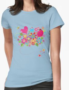 Colorful floral pattern with balloon and heart T-Shirt
