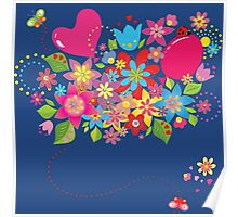 Colorful floral pattern with balloon and heart Poster