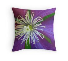 Pink and Purple Clematis Throw Pillow