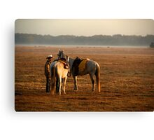 """Dawns Early Light""- Cowboy Roundup Canvas Print"