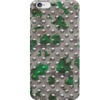 Rivet Plate - Silver w/Green Splash iPhone Case/Skin