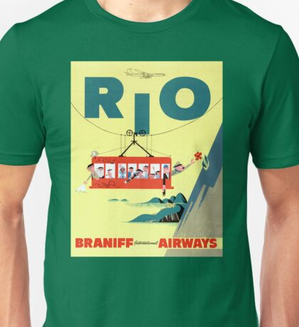 Rio Vintage Travel Poster Restored Unisex T-Shirt