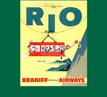 Rio Vintage Travel Poster Restored Unisex T-Shirt