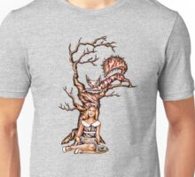 Alice in Wonderland with Cheshire Cat in Tree Unisex T-Shirt