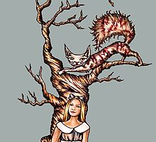 Alice in Wonderland with Cheshire Cat in Tree by ArtistryByLM