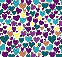 Colorful pattern with hearts. by HelgaScand