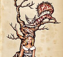 Print Alice in Wonderland with Cheshire Cat on Vintage Paper by ArtistryByLM