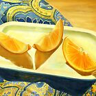 Oranges on Blue Paisley  by Joan A Hamilton