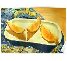 Oranges on Blue Paisley  Poster