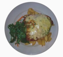 Chicken Parmagiana with Napolitana sauce, ham, mozzarella cheese, wild rocket salad and chips by parmaman