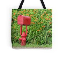 Firehouse Mailbox and Fire Hydrant Tote Bag