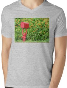 Firehouse Mailbox and Fire Hydrant Mens V-Neck T-Shirt
