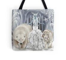 Ice Faerie with Polar Bear & White Tiger Tote Bag