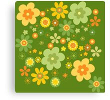 Green & Yellow flowers scattering Canvas Print