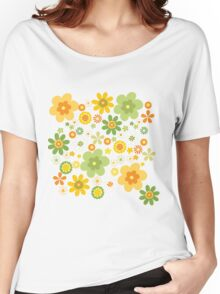 Green & Yellow flowers scattering Women's Relaxed Fit T-Shirt