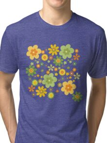 Green & Yellow flowers scattering Tri-blend T-Shirt