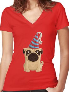 Birthday Pug 1 Women's Fitted V-Neck T-Shirt