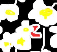 Black and white flowers T SHIRT Sticker