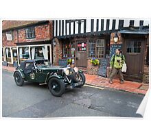 Old Classic Car - Ancient English Village Poster