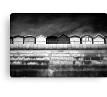 Small Huts, Big World BW Canvas Print