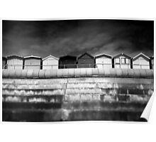 Small Huts, Big World BW Poster