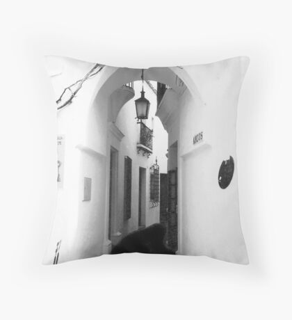 White washed walls in Barcelona Throw Pillow